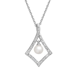 Crystaluxe Drop Pendant with Swarovski Pearl and Crystal in Sterling Silver - White