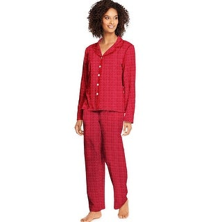 Hanes Women's Knit Notched Collar Top and Pants Sleep Set - Color - Merry Geo - Size - L