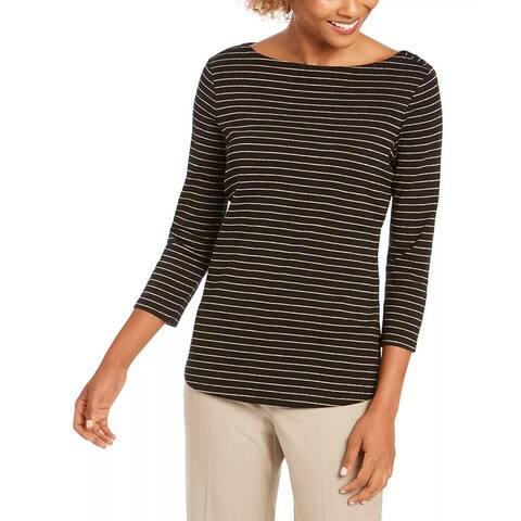 Charter Club Women's Metallic-Striped Boatneck Top Black Size Large