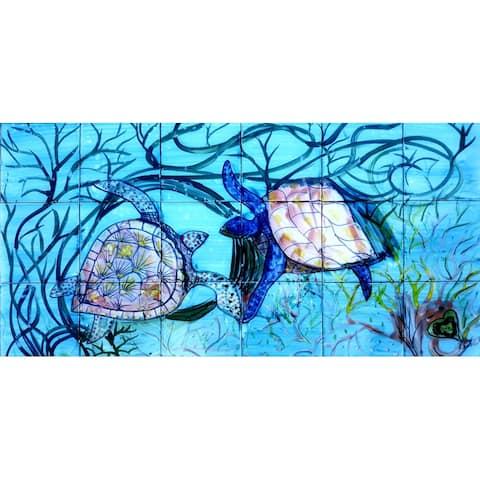 36in x 18in Sea Turtles Mosaic 18pc Tile Ceramic Wall Mural