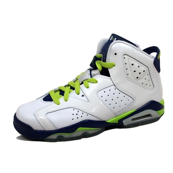 size 40 fda82 7178f Nike Grade-School Air Jordan VI 6 Retro White Fierce Green-Deep Royal