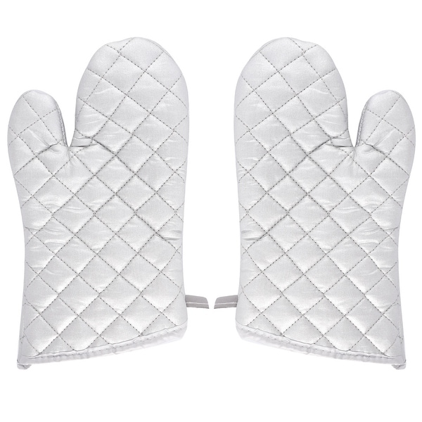 Bakery Heat Resistance Baking Insulated Oven Gloves Pair Silver White. Opens flyout.