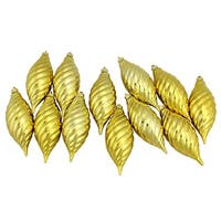 Club Pack of 12 Golden Yellow Shatterproof Finial Christmas Ornaments 4.75""