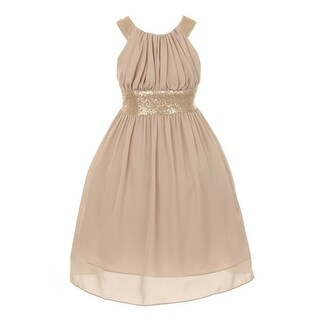 Cinderella Couture Little Girls Champagne Dazzling Sequin Pleated Dress 8-14