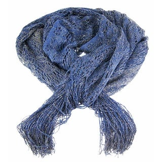 Navy Blue Fringed Metallic Lace Neck Scarf