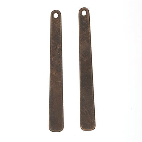 Vintaj Natural Brass, Tapered Rectangle Pendant Blank 40x5mm, 2 Pieces