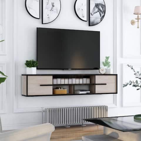 Furniture of America Benedikto Mid-century 63-inch 5-shelf Media Console