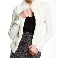 Dolce Cabo White Ivory Womens Size Large L Full Zip Fur Sweater
