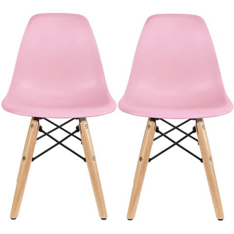 2xhome Set of 2 Pink Modern Kids Toddler Size Molded Plastic Armless No Arms Seat for Children's Room Natural Wood Eiffel Legs