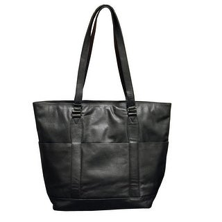 Winn International Leather Classic Style Tote Handbag - Black - One size