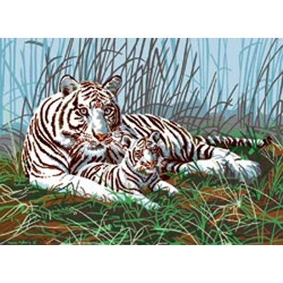 """White Tigers In The Mist - Junior Large Paint By Number Kit 15.25""""X11.25"""""""