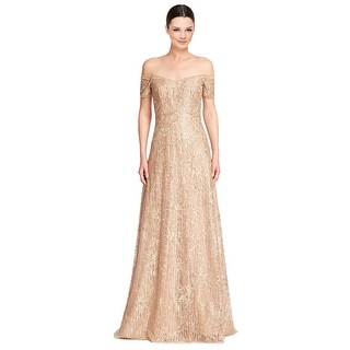 Rene Ruiz Metallic Embellished Off Shoulder Evening Ball Gown Dress