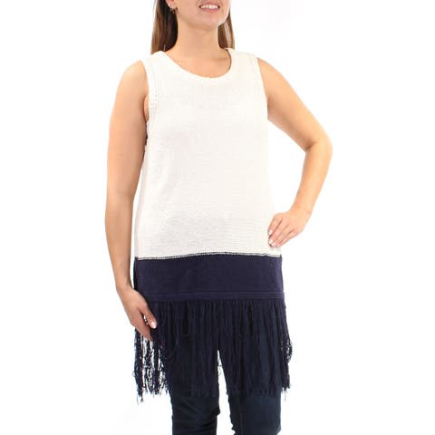 VINCE CAMUTO Womens Navy Fringed Sleeveless Scoop Neck Sweater Size: L