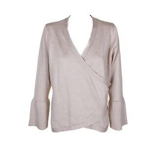 Thalia Sodi Gold Metallic Bell-Sleeve Zipper Detail Wrap Sweater XL