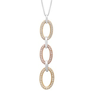 Triple Oval Pendant with Cubic Zirconia in 18K Two-Tone Gold-Plated Sterling Silver - White