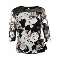 INC International Concept Women's Ruched Floral Mesh Blouse - photo garden