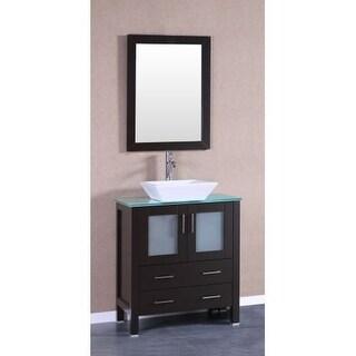 Panache Wood And Cobalt Blue Glass Vessel Sink Vanity