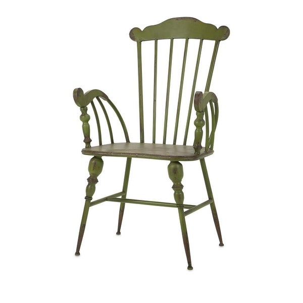 Quot distressed olive green and grey brown iron arm chair
