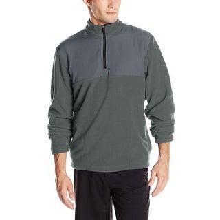 PGA Tour Mixed Media Quarter Zip Fleece Sweatshirt Iron Gate Grey Large