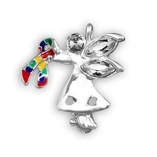 Autism and Aspergers Ribbon Angel By My Side Pin