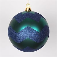 Teal Green Matte With Sea Blue Glitter Christmas Ball Ornament - 8