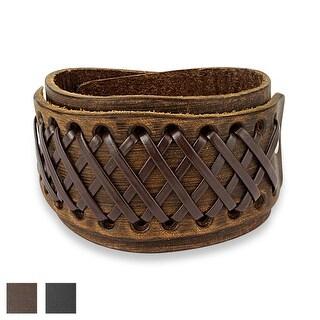 Cross Knotted Adjustable Leather Bracelet (Sold Ind.)