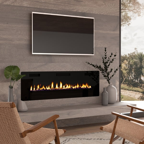 60-inch Ultra-thin Electric Fireplace Insert for Wall-mounted or In-wall Installation