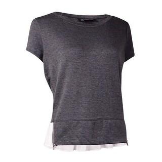 INC International Concepts Women's Layered Look Zipper Hem Top - vendor grey