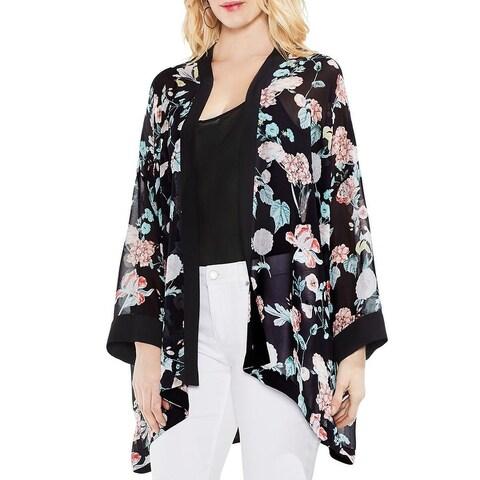 Vince Camuto Womens Floral Gardens Kimono Print Semi Sheer