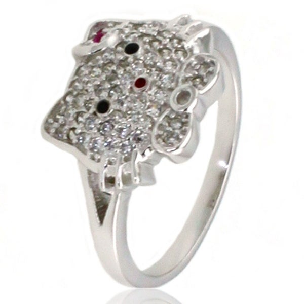 Sterling Silver Cubic Zirconia Kitty Ring