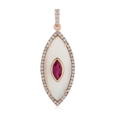 Artisan Rose Gold Diamond Mother Of Pearl Ruby Pendants Pearl Jewelry With Jewelry Box