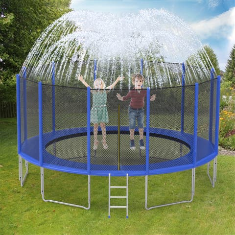 8FT/10FT/12FT Trampoline with Enclosure Net Outdoor Trampoline with PVC Trampoline Sprinkler Mini Trampoline for Kids
