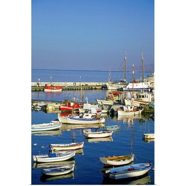 """Fishing boats docked at a harbor, Mykonos, Greece"" Poster Print"