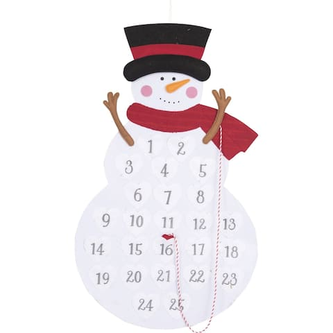 "40"" White and Red Christmas Snowmen Advent Calendar"