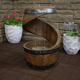 Sunnydaze Square 2-Tier Outdoor Bird Bath Water Fountain - LED Lights - 25-Inch