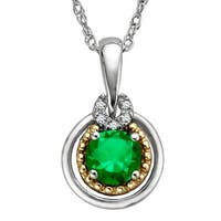 3/8 ct Created Emerald Pendant with Diamonds in Sterling Silver & 14K Gold