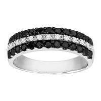 3/4 ct Black & White Diamond Band Ring in Rhodium-Plated Sterling Silver