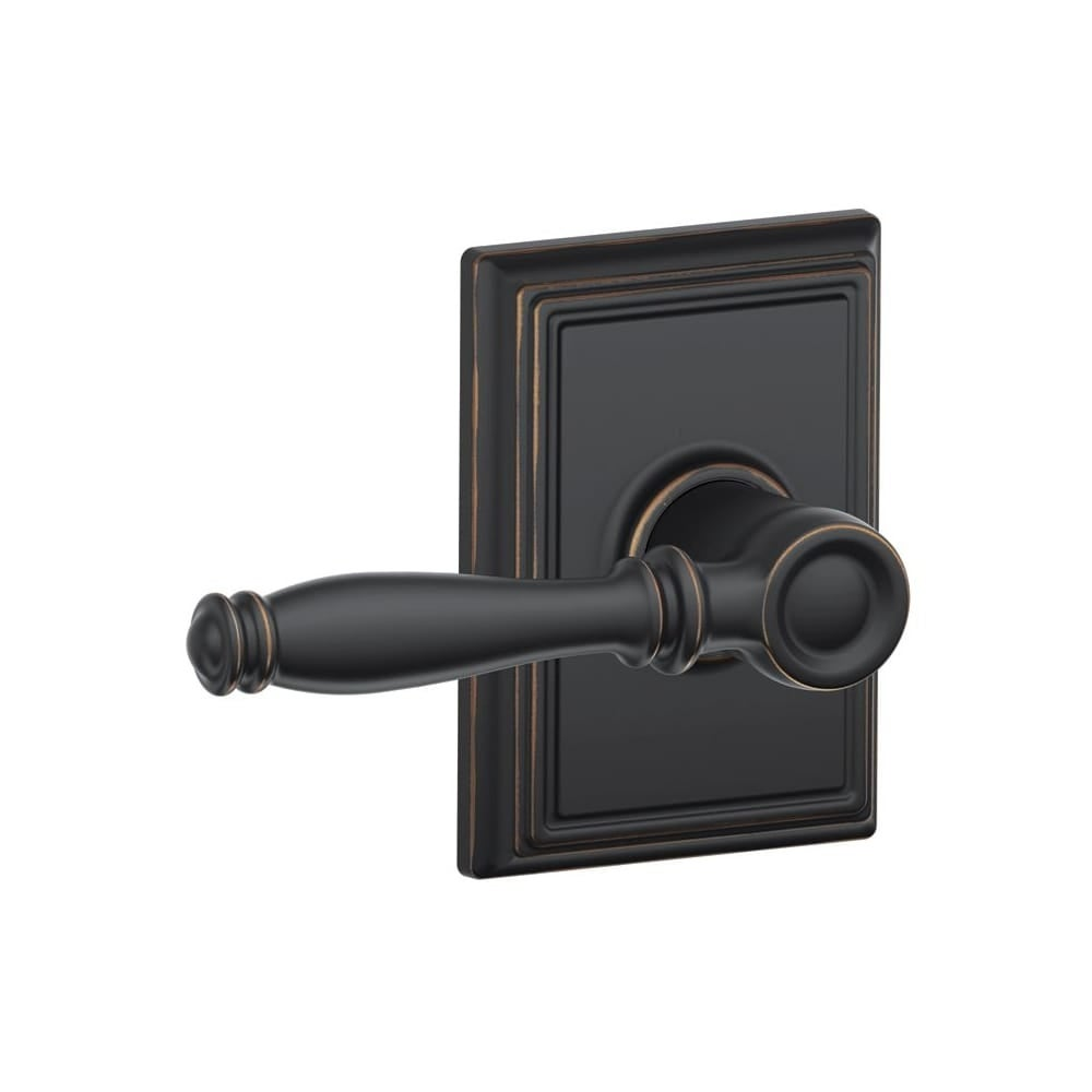 Schlage F10-BIR-ADD  Birmingham Passage Door Lever Set with Decorative Addison Trim (Satin Nickel)