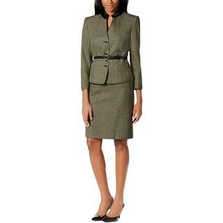 Tahari ASL Womens Edgar Skirt Suit Houndstooth Faux Leather