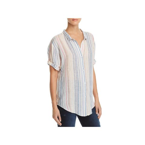 Splendid Womens Boyfriend Button-Down Top Linen Striped