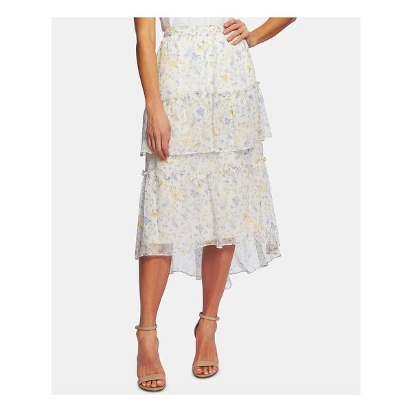 CECE Womens White Floral Skirt Size L