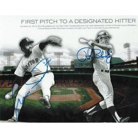 Ron Blomberg & Luis Tiant Dual Autographed 8x10 Photo Commemorating the First Pitch to a Designated Hitter