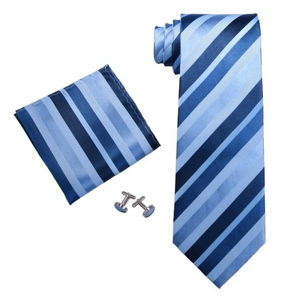 Men's Stripes Blue 3.25 Inch 100% Silk Neck Tie Set TheDapperTie 18199