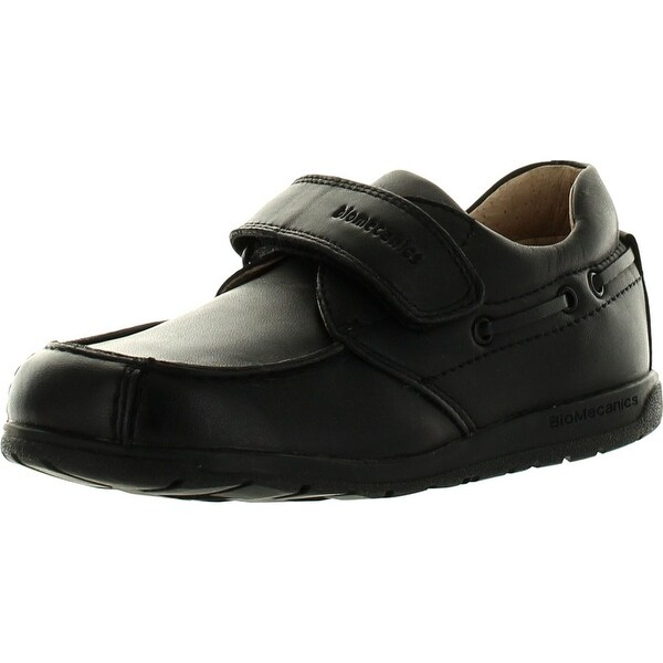 Biomecanics Boys Leather Single Strap Moccasin Dress Casual Shoes - Black