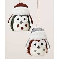 """5.25"""" Rustic Owl Plush Christmas Ornament with Faux Fur Trimmed Hat - RED"""