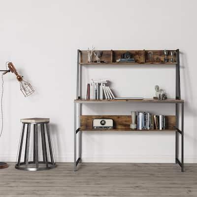 Industrial Computer Desk Study Table with Desktop Storage Shelves