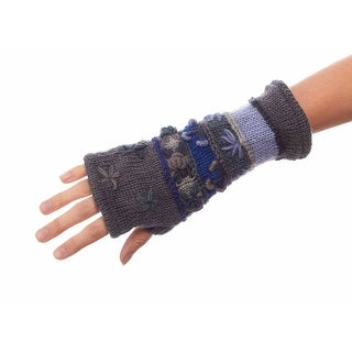 Hand Knitted Wool Wrist Warmers with Fleece Lining
