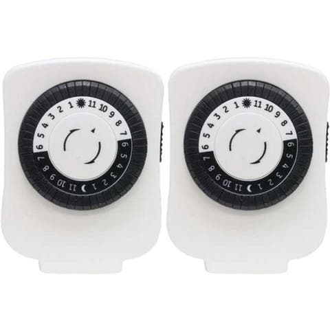 GE 15417 24-Hour Polarized Plug-in Mechanical Timer with 48 On/off & 1 Outlet, 2 pk - White