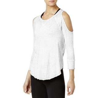 Calvin Klein Women's Performance Cold-Shoulder Top White Size Extra Large - xL