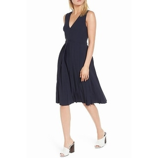 Lewit Navy Womens Fit N Flare Pleated A-Line Dress